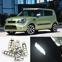 luces de mapa 12v al por mayor-8pcs Canbus White Car Lamp Bombillas LED Kit de paquete interior para 2010 2011 2012 Kia Soul Map Dome Trunk License Plate Light