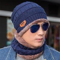 başlık örtüleri toptan satış-Maske Hood Beanies Erkekler Eşarp ile 1 Adet Şapka Eşarp Seti Kış Örgü Şapka Maskesi Bonnet Sıcak Kış Şapka T394 Caps