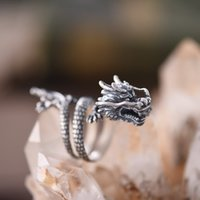 tiere chinesischen ring großhandel-Einstellbare Größe 925 Sterling Silber Ring für Frauen Mann Liebhaber Chinesischen Stil Drachen Tier Design Modeschmuck Geschenk Z4