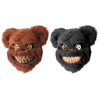 trajes de oso completo al por mayor-Máscara de la máscara caliente del oso de felpa con sangre máscaras de plástico de la cara llena de miedo asesino juguete adulto del partido del vestido de mal psico de Halloween traje de la suposición
