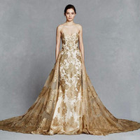 altın çıplak elbise toptan satış-Muhteşem Mermaid Gelinlik Ile Ayrılabilir Tren Sevgiliye Boyun Dantel Aplikler Sweep Tren Tül Altın Şapel Gelinlikler B2