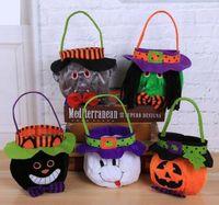 New Halloween Pumpkin Bucket Cartoon Vampire Black Cat Ghost Witch Handbags Halloween Candy Bag Party Gift Candy Bags