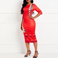 ingrosso abiti casual di colore rosso-Vestito aderente da donna Summer Fashion Color Block Sexy Split Elastic Slim Elegante Abbigliamento da ufficio Casual Red Club Abiti Donna