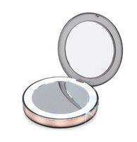 ayna aydınlatma toptan satış-Yeni LED Işıklı Mini Makyaj Aynası 3X Büyütülmesi Kompakt Seyahat Taşınabilir Algılama Aydınlatma Makyaj Aynası SK88