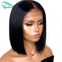 Wholesale malaysian human hair lace wigs for sale - Group buy Bythair Short Bob Silky Straight Peruvian Human Hair Full Lace Wigs Baby Hairs Pre Plucked Natural Hairline Lace Front Wig Bleached Knots