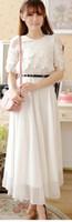 kore şifon ipek toptan satış-Yeni yaz Kore moda mizaç zarif shitsuke Tomurcuk ipek şifon elbise