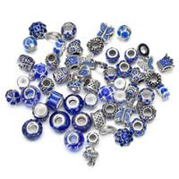 grande safira azul venda por atacado-Moda DIY Contas Charme 50 unidades / pacote 25 Projetos Mix 135g Azul Acessório Sapphire Europeu Beads Encantos Liga Grande Buraco Beads Jóias OPP saco