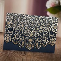 Wholesale wedding invitation chinese floral resale online - Wishmade Laser Cut Wedding Invitations Cards with Navy Blue Embossed Hollow Floral for Engagement Marriage Bridal Shower Birthday Party