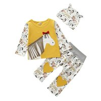 Wholesale baby boy clothing horse for sale - Group buy 0 M Newborn Baby Kids Girl Boy Clothes Sets Cartoon Horse Tops T shirt Pants Leggings Hats Outfits Set