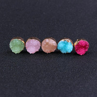 joyas de piedras preciosas de imitación al por mayor-Candy Gemstone Imitation Natural Stone Stud Earrings imita Drusy Druzy Pendientes chapados en oro para mujeres Lady Jewelry