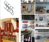 suportes para cabides de metal venda por atacado-Nova Housekeeping 7.5 cm Pendurado Ganchos de Ganchos de Gancho de Aço Inoxidável Rack de Cabide de Cozinha Em Casa
