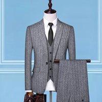 lüks düğün smokinleri toptan satış-2019 bahar yeni klasik erkekler için takım stilleri lüks smokin erkekler için 3 parça düğün takım elbise çizgili elbise adam suit T190908