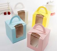 fenster kuchen boxen cupcakes großhandel-Cake Box Kostenlose Lieferung Einzel Cupcake Cakes Box Mit Fenstergriff Macaron Box Mousse Cake Boxen In 4 Farben EEA134