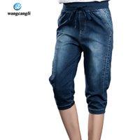 spandex calças quentes mais tamanho venda por atacado-Namorado de ganga para mulheres 2017 Verão quente Venda Freeshipping Casual Pants Plus Size 5XL Mulher Jeans Mid solto Vintage Denim Harem