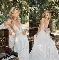 Wholesale wedding dresses wraps jackets for sale - Group buy Inbal Raviv Bohemian Beach Wedding Dresses with Wrap Jacket Modest Spaghetti Vintage Crochet Lace Chiffon Wedding Bridal Gowns Cheap