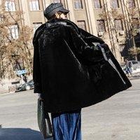 ingrosso grande felpa con colletto-Inverno 2020 rilassato cappotti di pelliccia reali delle donne inverno lusso elegante collo alto arricciato Via calda cerniera zip Felpa Grande