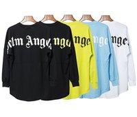 camisetas de murciélagos redondos al por mayor-Nueva moda Palm Angels Drop Shoulder Bat manga suelta algodón manga larga hombres y mujeres cuello redondo camiseta 5 color S-XL