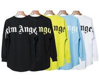 yuvarlak yarasa gömlekleri toptan satış-Yeni Moda Palmiye Melekler Bırak Omuz Yarasa Kol Gevşek Pamuk Uzun Kollu erkek ve kadın Yuvarlak Boyun T-Shirt 5 renk S-XL