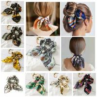 Wholesale braid hair elastic band resale online - Solid Floral Bow Scrunchie Hair Band Elastic Ties Rope Scarf Accessories hair accessories hair accessories for braids
