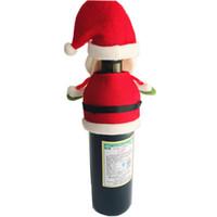 tampas da garrafa de pano venda por atacado-Novo padrão Chegada 3 Vinho Papai Noel Bottle Capa Bags Decoração Partido Home Pano Vinho do Natal Velvet tampa de garrafa