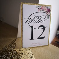Wholesale paper glitter free for sale – best 10pcs Personalized Glitter decoration stand free personalized table number thick glitter paper with floral design decorated