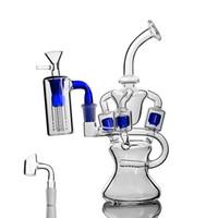 rohr-kronleuchter großhandel-Glas Bongs 3 Kronleuchter Recycler-Ölbohrgeräte Becherglas-Ölbohrgeräte Glaswasserpfeifen 14 mm-Verbindungsstück 9