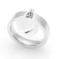 kadınlar için gümüş kalp yüzükleri toptan satış-Kadın Kalp Pandora Stil Yüzükler Yüksek Sınıf Paslanmaz Çelik Aşk Yüzük Altın Gümüş 3 Renk 6-10 Boyutu Band Yüzükler Toptan