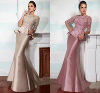 Wholesale mother bride dresses free shipping resale online - Custom Lace Satin Mother of Bride Groom Dresses Half Long Sleeve Beads Peplum Mermaid Party Wear Bridal Guest Gowns