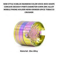 мобильные телефоны оптовых-63 мм Радуга Голос-коробка-форма вогнутой формы табака шлифовальные Iceblue держатель мобильного телефона шлифовальные принадлежности для курения CCA11179 10 шт.