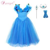 robes bleues à col en v achat en gros de-Pettigirl Bleu Cendrillon Papillons Bébés Filles Robes De Soirée Paillettes Princesse Pour Filles Kid Cosplay Costumes GD50310-01