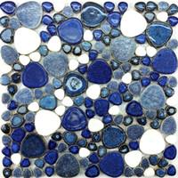 Wholesale interior floor tiles resale online - Glazed blue white pebble porcelain mosaic PPMT034 pebble heart shape bathroom flooring shower wall swimming pool tiles kitchen backsplash