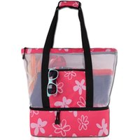 Wholesale bohemian bags for sale - Beach Cooler Bag New Family Large Capacity Mesh Insulated Beach Cooler Tote Custom Beach Cooler Bag Durable Outdoor Picnic Bags Travel Bag