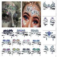 nuevas pegatinas de cristales al por mayor-¡Nueva llegada! Tatuaje temporal 3D Rhinestone Tattoo Stickers Face Crystal Sticker Festival Party Makeup Glitter Flash tatuajes