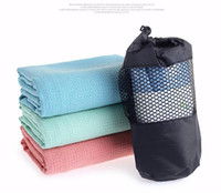 Wholesale quality fitness wear for sale - Group buy High quality antiskid absorb sweat yoga mat towels grid design pilates erercise blanket Wear resistant non slip silicone fitness mat cover