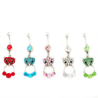 Wholesale stainless steel fox ring for sale - Group buy D0526 colors MIX colors styl belly ring style newly fox style Rings Body Piercing Jewelry Dangle Accessories Fashion Charm