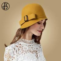 bayanlar siyah şapka hissettim toptan satış-Fs Vintage Siyah Yün Ilmek Ile Geniş Ağız Bowler Cloche Şapka Keçe Kış Fedoras Bayanlar Sarı Mavi Disket Derby Şapka Kap Y19070503