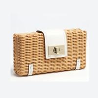 pequeña billetera hecha a mano al por mayor-2019 nuevos bolsos de ratán de moda hechos a mano bolso de embrague bolso de embrague billetera teléfono de gama alta pequeño cuero real a juego