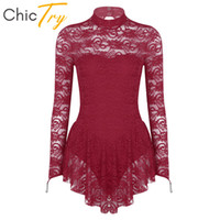Wholesale blue ice skating dresses for sale - Group buy ChicTry Elegant Adult Long Sleeve Lace Ballet Gymnastics Leotard Women Figure Ice Skating Dress Competition Stage Dance Costume