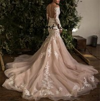 Wholesale red crystal buttons resale online - Long Sleeve Mermaid Wedding Dresses Champagne Full Lace Applique Chapel Train Garden Countryland Bride Trumpet Wedding Gown