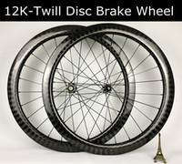 26 bisiklet tekerleği toptan satış-50mm Derinlik 12 K Dimi örgü 26 m genişlik karbon tekerlek Disk fren tekerlekleri yol bisikleti tekerlek