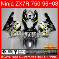 gelber ninja großhandel-Karosserie Für KAWASAKI NINJA ZX 7R ZX750 ZX-7R 1996 1997 silbergelb 1998 1999 2000 28HC.14 ZX-750 ZX 7 R ZX 750 ZX7R 96 97 98 99 00 Verkleidungen