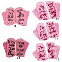 Wholesale beer can glasses resale online - Cake Socks Letter Printed IF YOU CAN READ THIS Bring Me a Glass of Wine Beer Socks Winter Sock Christmas Stocking GGA2673