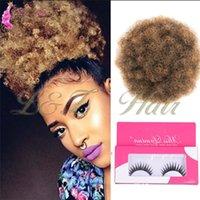canones sintéticos al por mayor-Ponytail Synthetic 8 '' Clip Aflo Rizado Corto Afro rizado Bollo de pelo en Puño de moño moño Afro Rizado Rizado Cordón sintético