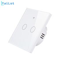ingrosso interruttore a parete nero-AC100-240V Wifi Smart Black Wall Switch Pannello in vetro APP mobile Telecomando US / EU 2Gang Swtich Per Smart Life