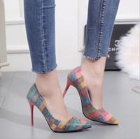 stilettos schuhe große größen großhandel-Sexy Frauen-Absatz-Schuhe Entwerferkleidschuhe Fashion Damen Schuhe Farbe Woven Printed Stiletto Large Size Zapatos de mujer