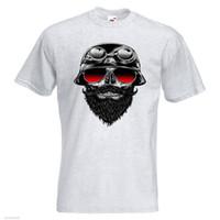 knochengläser großhandel-Bone Rider Herren DRUCK T-SHIRT Biker Bike Brille Helm Skull Farbe Jersey T-Shirt drucken