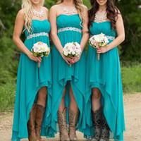 nude bodenlänge brautjungfer großhandel-Blaue Brautjungfer Kleider herzförmiger Ausschnitt mit Kristallgürtel Falten eine Linie Chiffon Falten hoch niedrig Brautjungfer Kleid