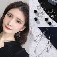 длинные серьги цепи для девочек оптовых-Temperament Long Chain Earrings Ball Geometric Asymmetry Pearl Tassel Dangle Earrings for Girls Women Jewelry Ear Accessories