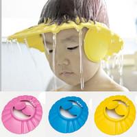 ingrosso cappelli da bagno per bambini-Nuovo arrivo 100% nuova plastica morbida ridimensionabile dimensioni Baby Shower Caps Bagno Doccia Earflaps Shampoo Cap Kid Shampoo Hat