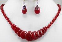 brincos de colar de coral vermelho venda por atacado-Prett Adorável das Mulheres de Casamento por atacado estilo simples 8mm 18